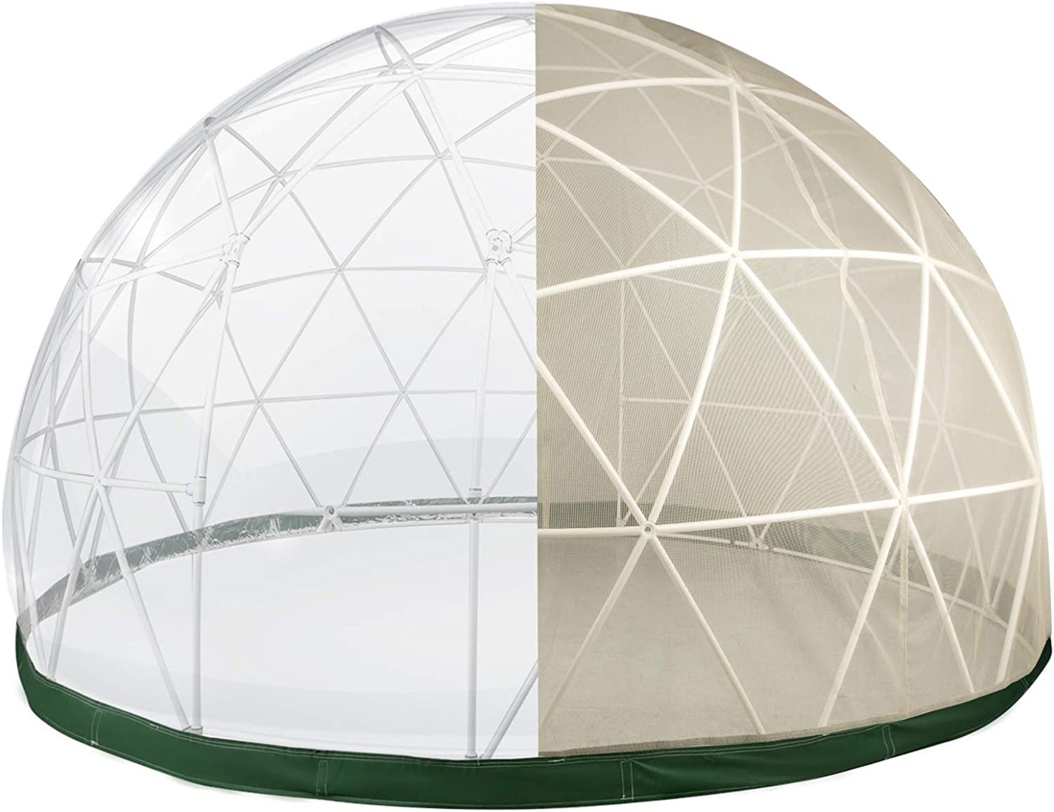 Patiolife Garden Dome with PVC Cover and Mesh Cover - Geodesic Dome 12ft - Lean to Greenhouse with Door and Windows for Sunbubble, Backyard, Outdoor Winter & Summer, Party