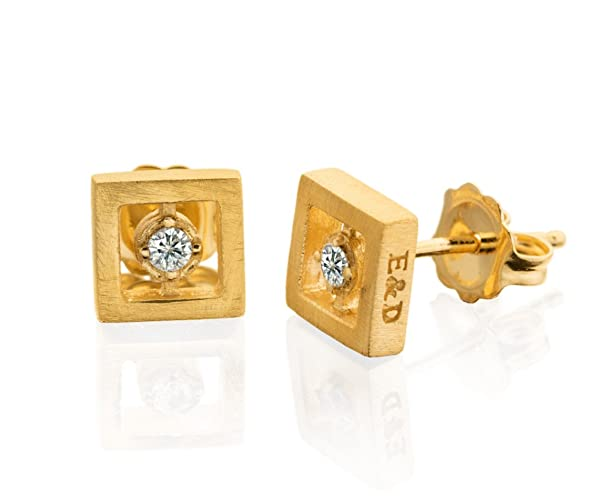 c2a898c22 Image Unavailable. Image not available for. Color: Diamond studs earrings  delicate small square ...