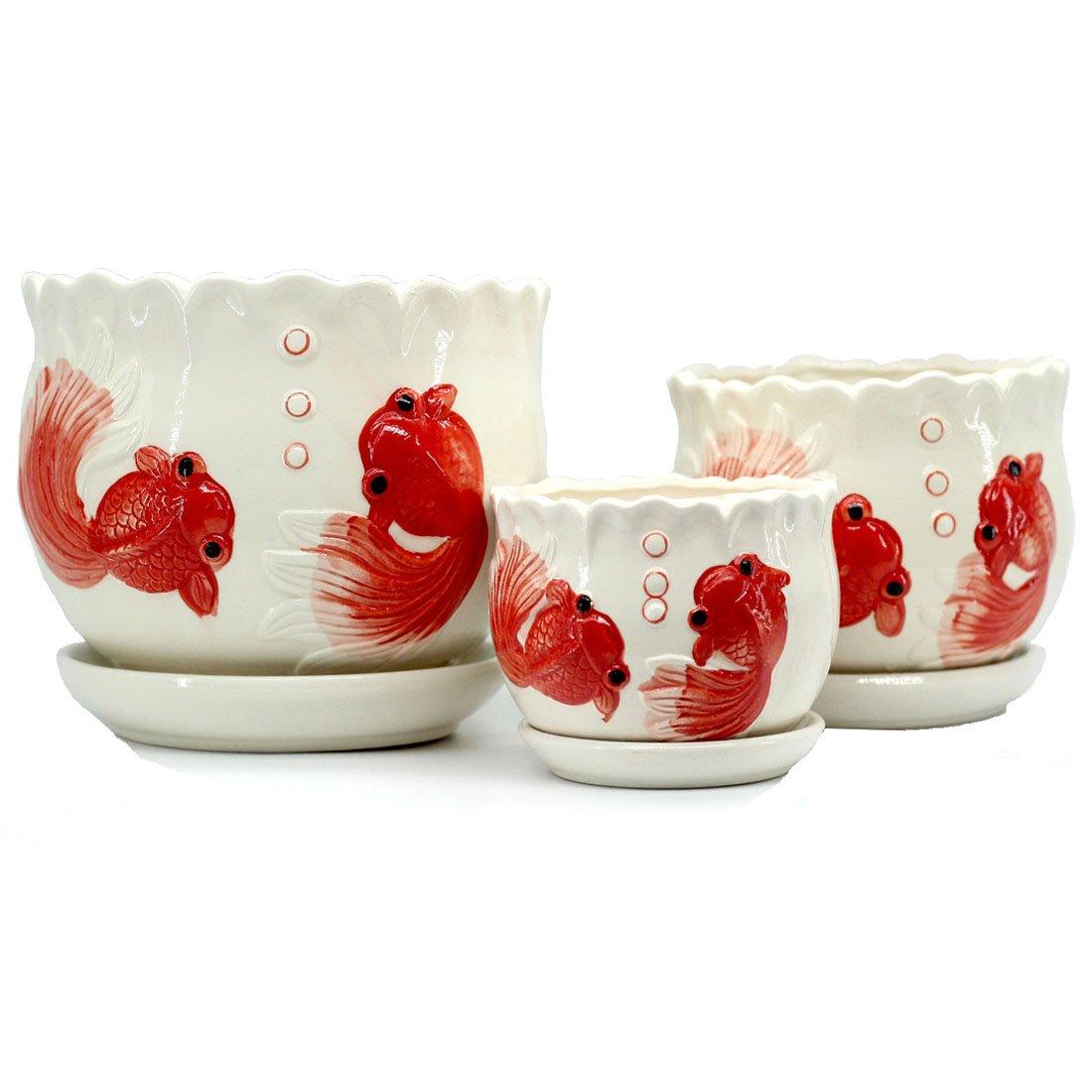 Mecai Set of 3 Medium Sized Ceramic Fish Planter Home/Garden Modern Flower Planter Pot with Saucer/Tray