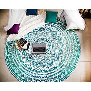 Tealtastic Mandala Round Tapestry Hippie Indian Mandala Beach Roundie Picnic Table Throw Hippy Bohemian Spread Boho…