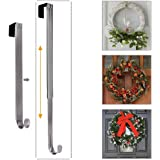 LBSUN Wreath Hanger, Adjustable Over The Door Wreath Hanger Wreath Holder Wreath Hook Door Christmas (Nickel,20 lbs)