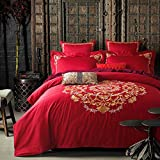 DHWM-Plush cotton wedding embroidery bedding 4 piece set, the red activated stamp is set linens ,2.0m