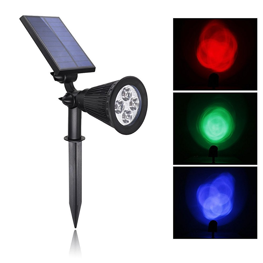 Solar Spotlight, Egrace Color Change LED Solar Lights Outdoor Landscape Spotlights Outdoor Waterproof, 180°angle Adjustable for Path, Garden, Security