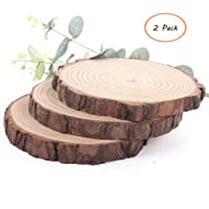 Nawilbi Large Natural Wood Slices Round Rustic Slabs Unfinished Wood Sanded 11-12 inch for Wood Burning Wedding Centerpiece Table Birthday Party Baby Shower Decoration Craft (2 Pack)