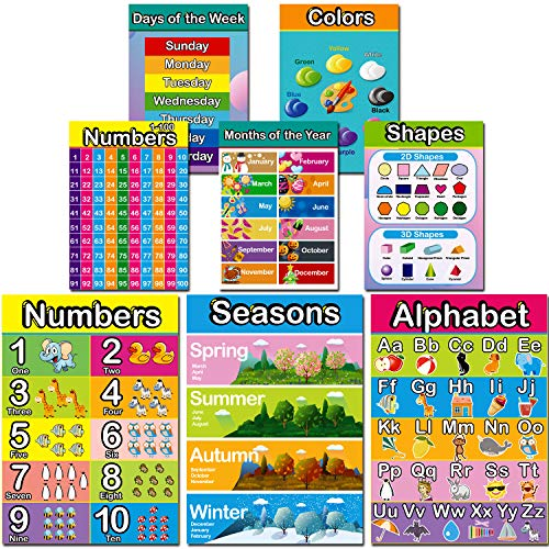 Large Size Educational Preschool Poster,Easy Read & Learn Design for Toddlers Kids Nursery Homeschool Kindergarten Classroom Playroom -Teach Alphabet, Numbers, Days, Colors and More (8 Pieces)
