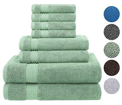 Cotton Paradise Ultra Soft 8 Piece Towel Set, 100% Turkish Combed Cotton Maximum Absorbent and Eco-Friendly - 2 Oversized Large Bath Towels 30x54, 2 Hand Towels 16x30, 4 Wash Cloths 13x13 (Cyan Green) (8 Piece Sheet Bath)