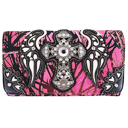 Western Camouflage Cross Wings Country Purse Single Shoulder Bags Clutch Women Blocking Wristlet Wallet (Pink) (Camo Wallet Clutch)