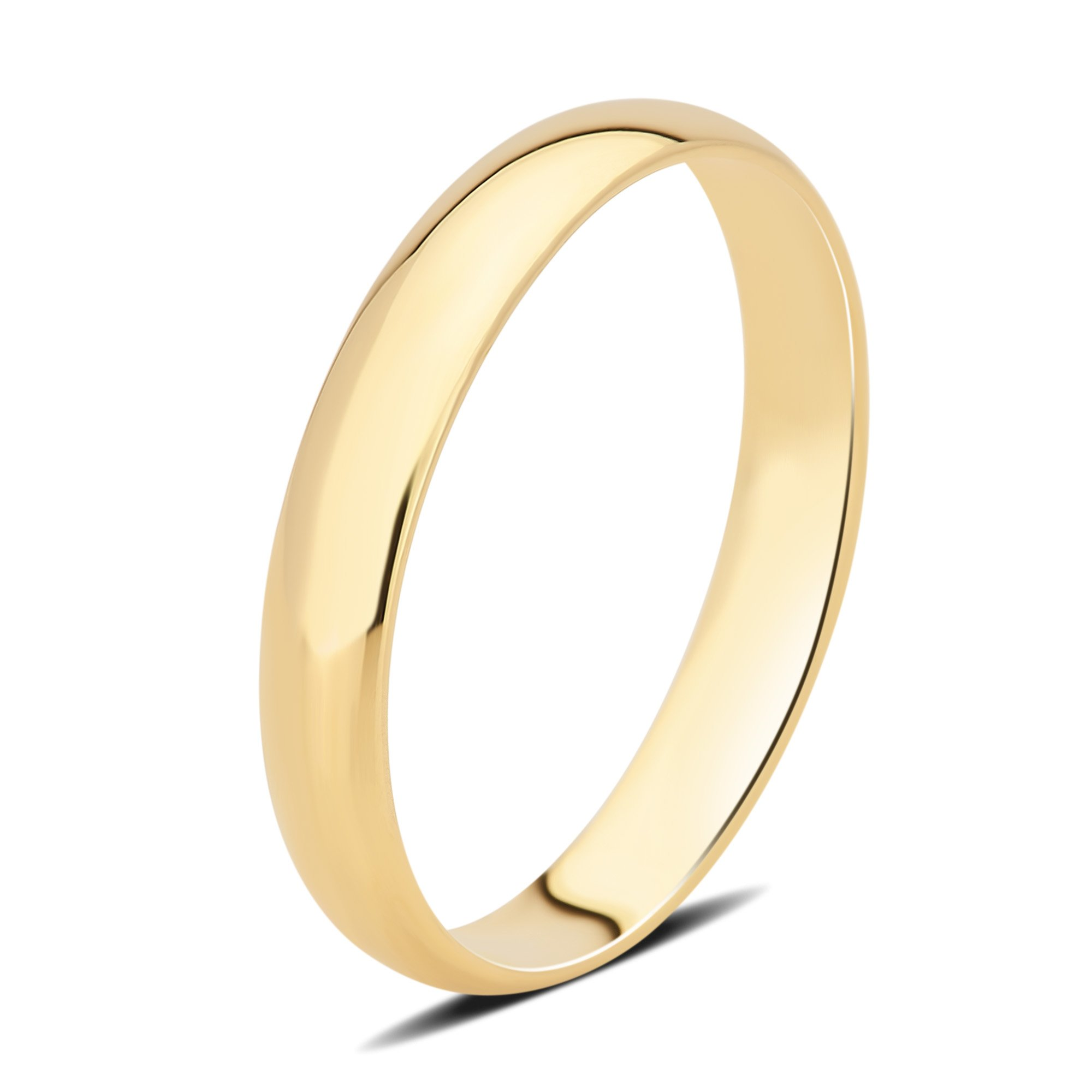 DiamondMuse 3 mm Plain Wedding Band in 10K Yellow Gold
