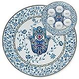Seder Plate - Hand Painted Hamsa Design, Ceramic