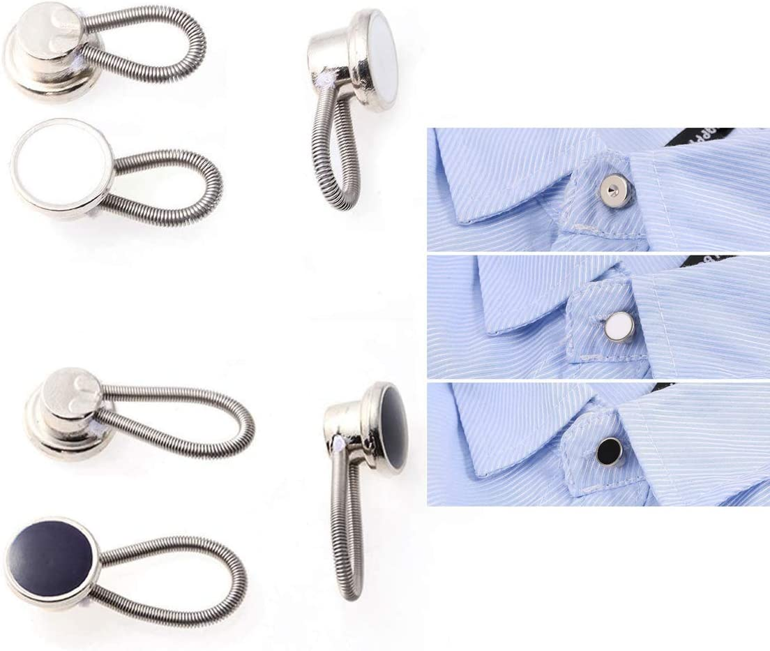 US 5x Collar Spring Buttons Neckline Extenders Buttons for Dress Shirts Coat