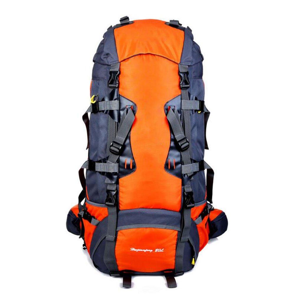 JBHURF Große Kapazität 80L Outdoor-Bergsteigen Tasche professionelles Tragesystem Gelb (Farbe : Orange)