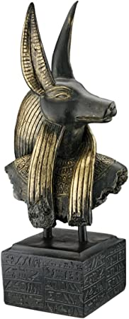 Ebros Egyptian God Anubis Bust Decorative Box Figurine in Black and Gold Finish