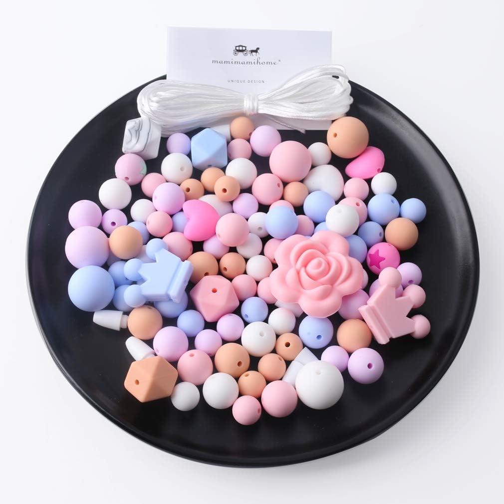 Mamimami Home Perlas de silicona Teether Hexágono de bricolaje para la dentición del bebé accesorios pulsera de calidad alimentaria bebé Mordedor Juguetes