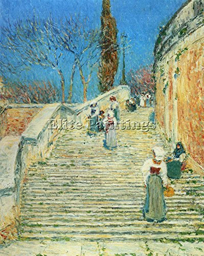 PIAZZA DI SPAGNA ROME BY HASSAM ARTIST PAINTING OIL CANVAS R