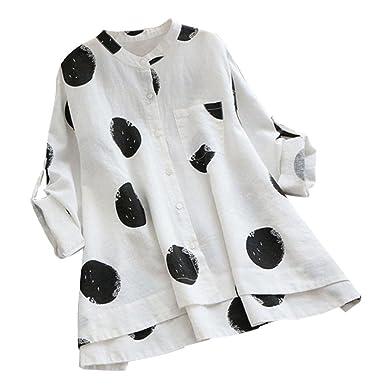 c64376d4974 LILYYONG Plus Size Long Sleeve Loose Blouse Women s Button Pocket Casual Tops  Shirt  Amazon.co.uk  Clothing