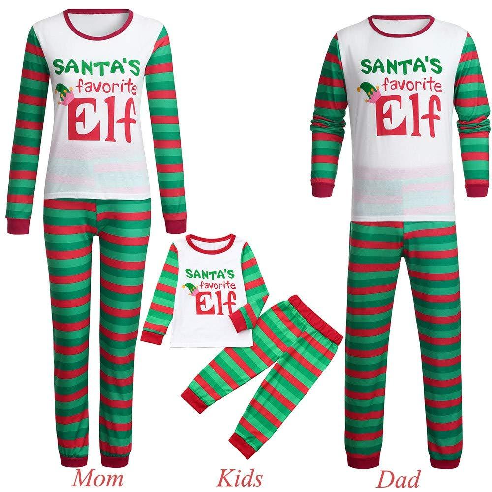 Keepwin Matching Family Christmas Mom Dad Kids Pajamas Set Santa's Favorite Elf Letter Printed Sleepwear Outfit Children Clothes Family Pajamas Set- SUGA110804