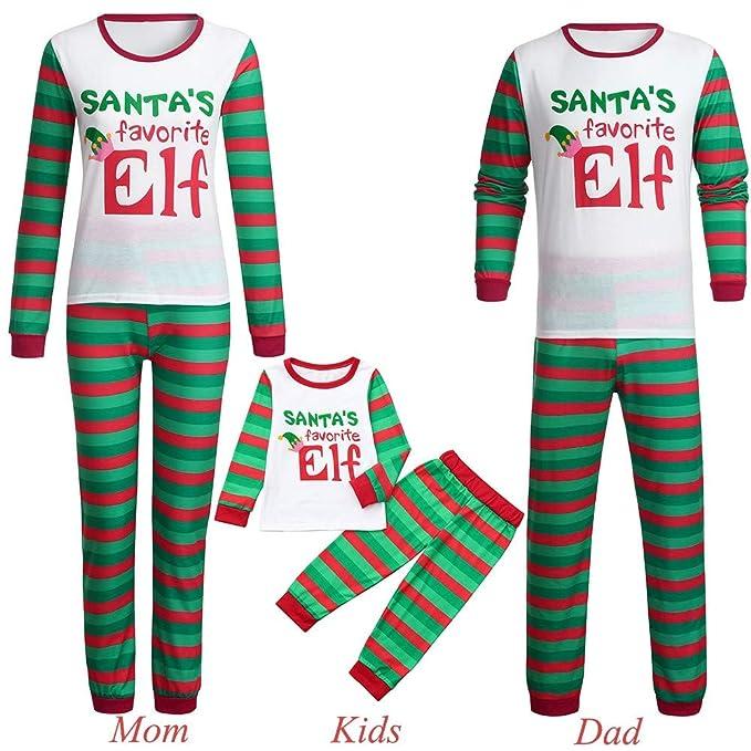 6fd6228b5d Keepwin Matching Family Christmas Mom Dad Kids Pajamas Set Santa's Favorite  Elf Letter Printed Sleepwear Outfit