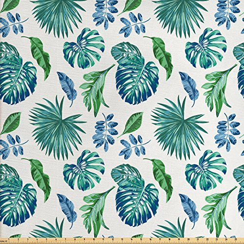 Ambesonne Green Leaf Fabric by the Yard, Monstera Coconut Palm Tree Leaves Exotic Rainforest Foliage Eco, Decorative Fabric for Upholstery and Home Accents, Turquoise Green Navy Blue Coconut Fabric