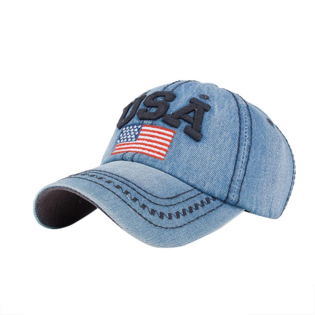 44a5658c976 Letters USA Baseball Cap Fashion Women Men USA Denim Rhinestone Snapback  Hip Hop Baseball Cap Flat Hat (Blue)  Cell Phones   Accessories