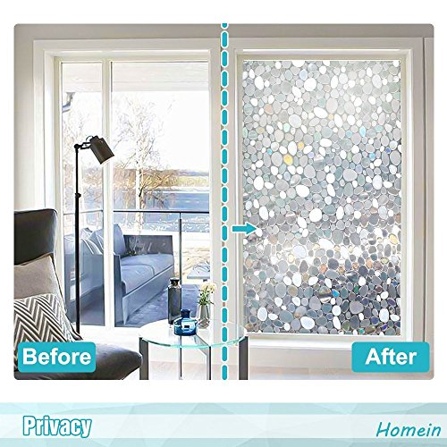 Homein Window Films 3D Static Privacy Decoration Home Window Tint Film for UV Blocking Heat Control Glass Stickers,Pebble,17.7In. by 78.7In. (45 x 200Cm) by Homein (Image #2)