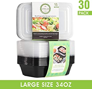 SMELHA 34oz Meal Prep Containers [30 Pack] Reusable Lunch Food Containers With Lids, Single 1 Compartment, BPA Free Food Storage Bento Box Set for Adults & kids, Spill Proof, Microwave Dishwasher Free