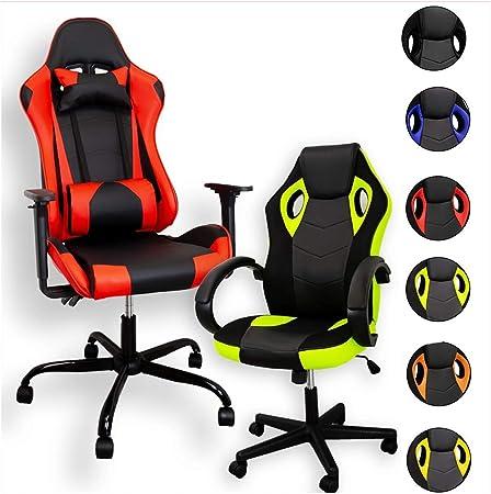 ZStyle Sedia Poltrona da Gaming per Ufficio Videogiochi reclinabile Imbottita ergonomica scrivania Computer Playstation RTX GTX GTX, Arancione
