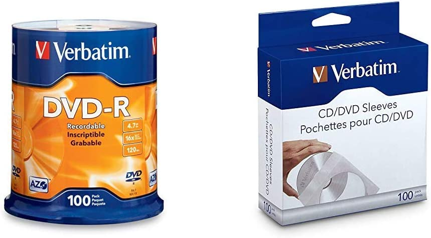 Verbatim DVD-R 4.7GB 16x AZO Recordable Media Disc - 100 Disc Spindle - 95102 & CD/DVD Paper Sleeves-with Clear Window 100pk