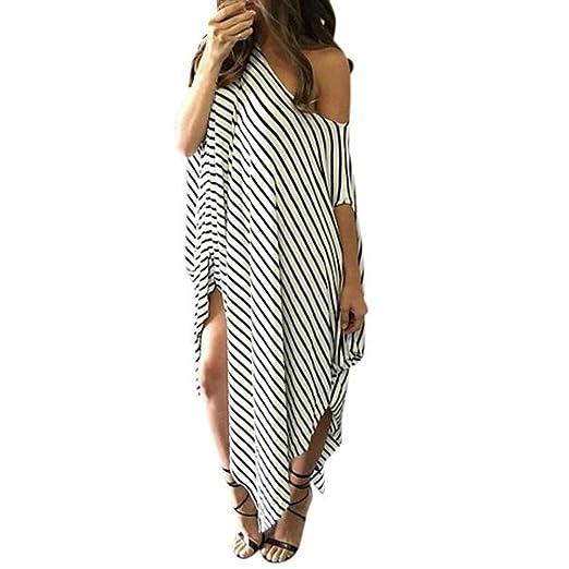 f5e63f63512f Amazon.com: Women Long Maxi Dress Bat-Wing Loose Off Shoulder Asymmetrical  Striped Tunic Dress Top: Clothing