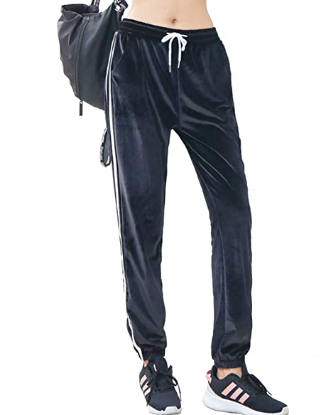 353ada824 Youndcc Women Velvet Stripe Track Pants Casual Athletic Jogger Drawstring  Side Striped Velour Pants (Small