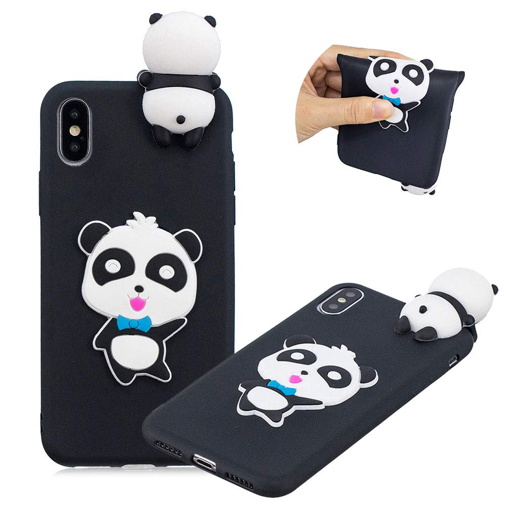 Matte Cute 3D Touch Cartoon Animal Cover for iPhone XS Max 6.5, MOIKY Candy Colour Soft Silicone TPU Bumper Back Case iPhone XS Max 6.5 Gel Rubber Shell Skin Shockproof Protective Case Cover - Chic Panda iPhone XS Max 6.5