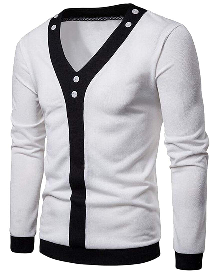 XiaoTianXinMen XTX Mens V-Neck Long Sleeve Color Block Knitted Open Front Cardigan Sweaters