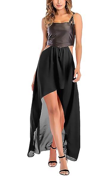 6a4957d22e Vestido Largo Mujer Elegantes Clásico Especial Imitación De Cuero Splice  Gasa Vestidos Largos Sin Mangas Asimetricas Irregular Moda Casual Vestidos  Verano  ...