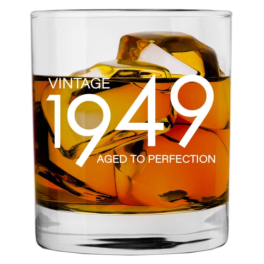 1949 70th Birthday Gifts for Men and Women Whiskey Glass   Bourbon Scotch Glasses 70th Bday Gift Ideas for Him Her Dad Mom Husband Wife   11 oz Whisky Old Fashioned Bar Glasses Lowball Decorations