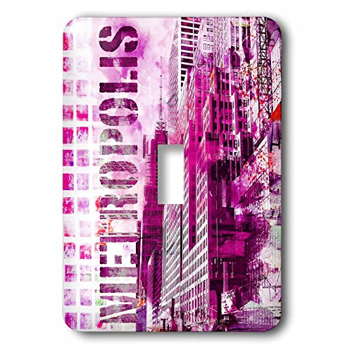 Metropolis Clock (3dRose Andrea Haase Art Illustration - Modern Metropolis Urban City Art With Typography In Pink - Light Switch Covers - single toggle switch (lsp_268111_1))