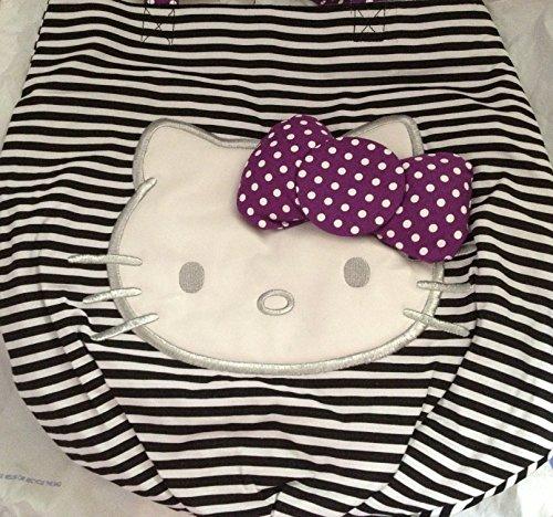 Hello Kitty Black & White Striped Tote with Purple Dotted Bow & White Polka Dot Strap