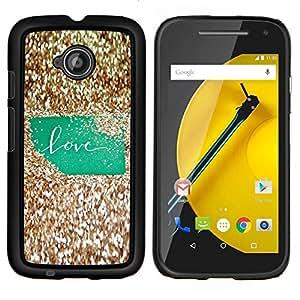 LECELL--Funda protectora / Cubierta / Piel For Motorola Moto E2 E2nd Gen -- Bling texto Oro Verde Brillante --