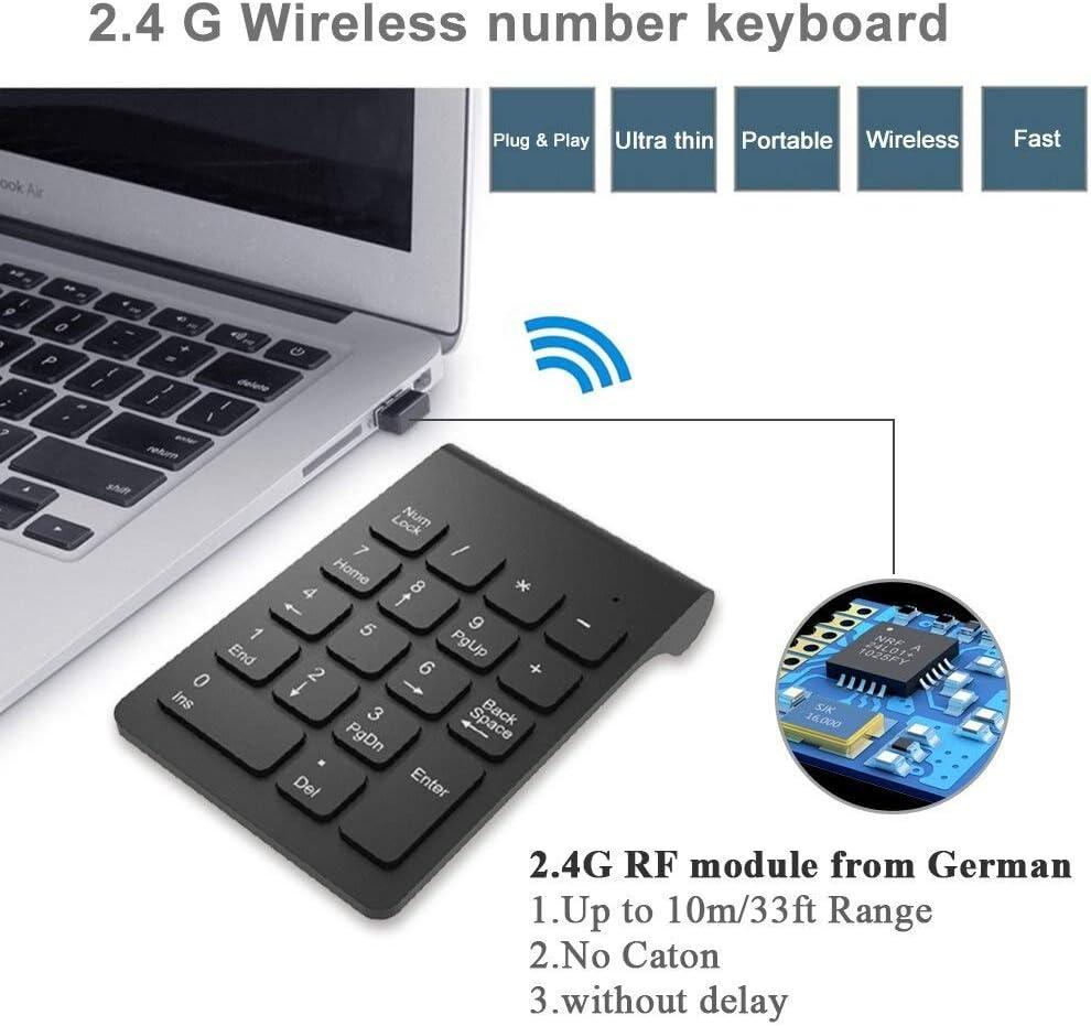 BHGFCGYUH Wireless 2.4GHz 18 Keys Number Pad Numeric Keypad Keyboard for Laptop PC /& Mac