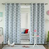 Best Home Fashion Room Darkening Clouds Print Curtains – Stainless Steel Nickel Grommet Top – Blue – 52″W x 84″L – (Set of 2 Panels)