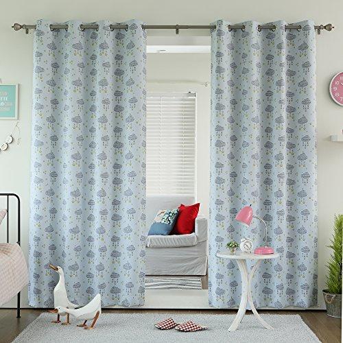 Best Home Fashion Room Darkening Clouds Print Curtains - Stainless Steel Nickel Grommet Top - Blue - 52
