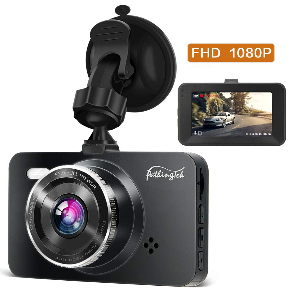 Dash Cam 1080P DVR Dashboard Camera Full HD 3'' LCD Screen 170°Wide Angle, WDR, G-Sensor, Loop Recording Motion Detection Excellent Video Images(Black) by Pathinglek