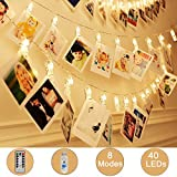 teen wall decor Weepong 40 LED Photo Clips Lights/Holder Fairy string Lights with Remote and Timer 16.4ft USB Powered Picture Hanging Lights for Wedding Wall Teen Girls Gift Weeding Party Dorm Bedroom Decor(8 Modes)