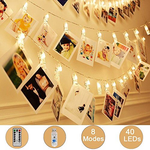 Weepong 40 LED Photo Clips Lights, 16.4 ft USB Operated Remote Timer Fairy String Lights Holder for picture Hanging Artwork Teen Girls Gift Wedding Wall Party Dorm Bedroom Decor (8 Modes Warm White)