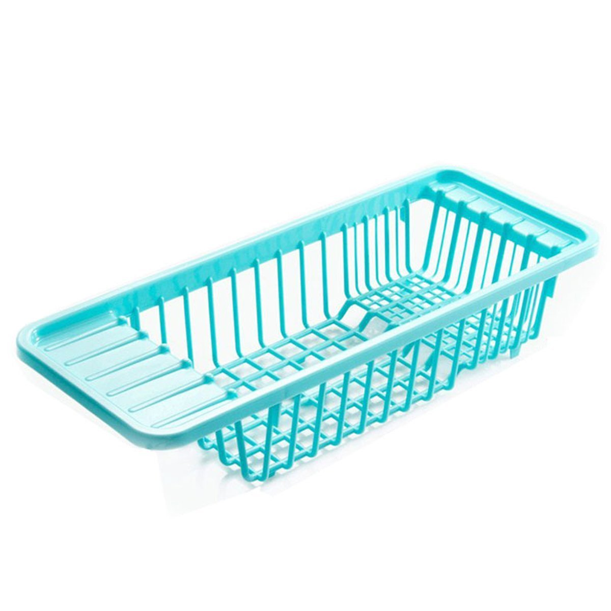 Dish Drying Rack Dish Drainer Over the Sink Large (Blue)