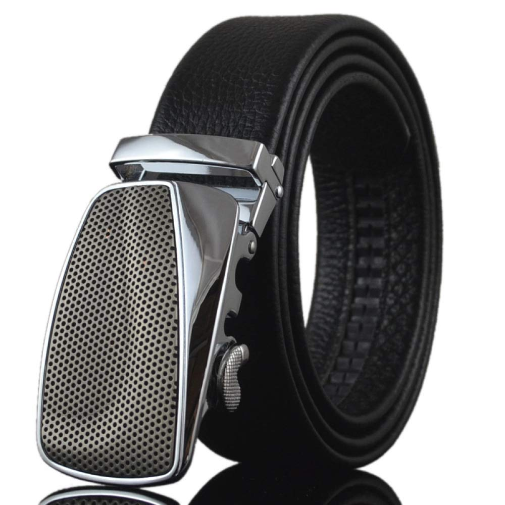 DENGDAI Automatic Buckle Belt Leather Belt Casual Pants Belt Length 110-130cm
