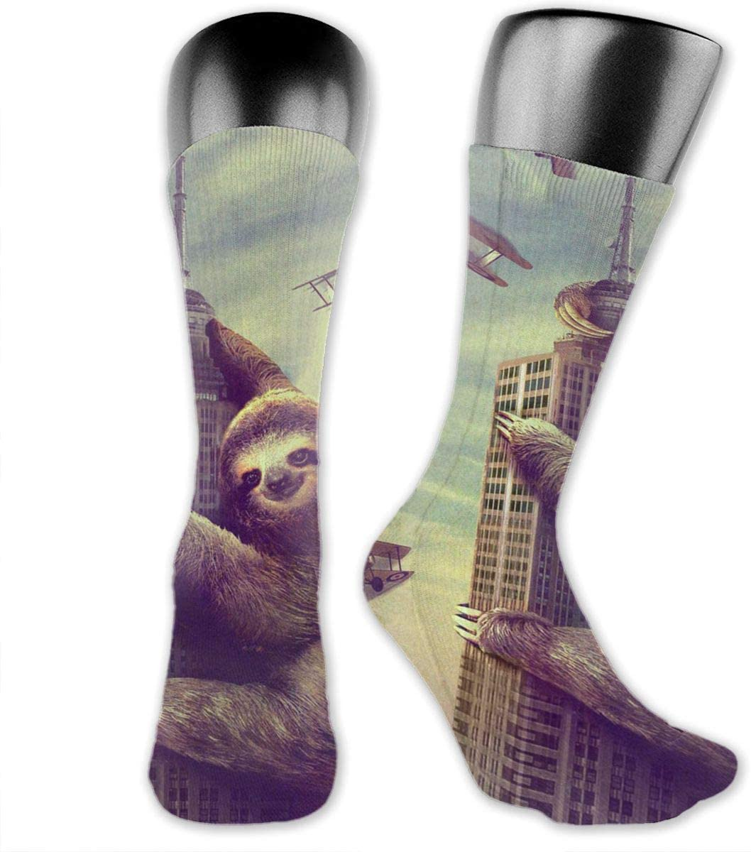 OLGCZM Funny Sloth Building Men Womens Thin High Ankle Casual Socks Fit Outdoor Hiking Trail