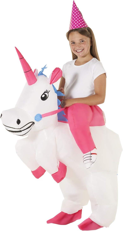 Paseo Niño En Disfraz Inflable De Unicornio Caballo Mágico Disfrazarse Para Niños Y Niñas