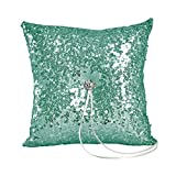 Ivy Lane Design Elsa Shiny Sequin Ring Pillow, Mint