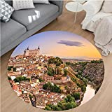 Nalahome Modern Flannel Microfiber Non-Slip Machine Washable Round Area Rug-o Spain Old City over the Tagus River Downtown Castle Architectural Ancient Picture Ivory area rugs Home Decor-Round 75''