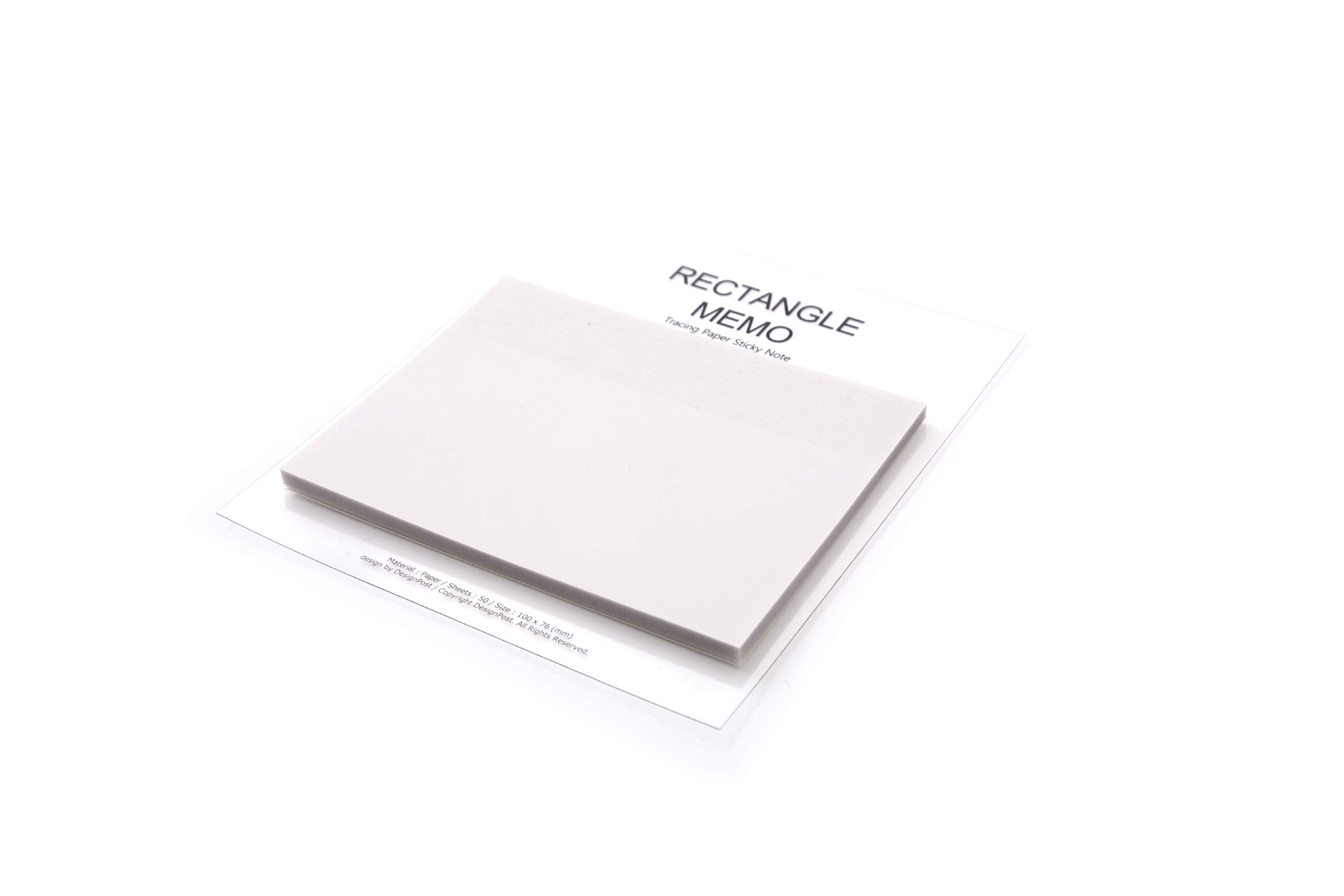 (Pack of 2) Creative Tracing Paper Sticky Memo 4 X 3 inches, 50 Sheets Cute Note Pads Rectangle Styles Unique Self Adhesive Removable Transparent Memo Various Size Bookmark Page Flag