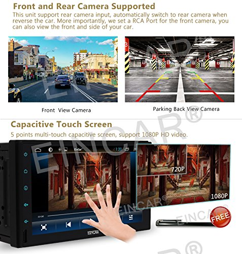 External Microphone /& Free Rear Cam Wandou Trade Co Ltd Double Din Android 6.0 Carplay Head Unit Support GPS Navigation FM//AM RDS Radio AUX Bluetooth yBR.AN60271GNN+FCAM22 Eincar 2-DIN Car Stereo 7 Inch Touch Screen with Built-in HD Radio